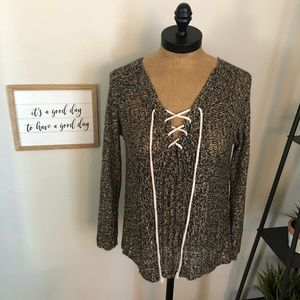 Lovemarks Lace-Up V-Neck Loose Knit Sweater